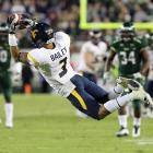 Wide receiver Stedman Bailey (pictured) made a diving catch to set up the winning field goal in West Virginia's narrow win at South Florida on Thursday. The victory clinched a share of the Big East championship for the Mountaineers.