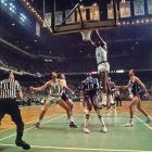 Last hurrah for Bill Russell's Celtics who hold off the up-and-coming Knicks with one-point wins in both Game 4 and the clinching Game 6. Celtics go on to beat the L.A. Lakers in the NBA Finals for Russell's 11th championship in 13 years.
