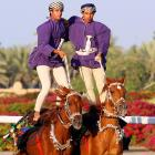 Oman, they sure know how to ride in the Gulf sultanate where the Sultan Cup is awarded to the winner of the New Year's race between the best Arabian horses. We'd love to see the jockeys in the Kentucky Derby try this.
