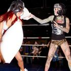 """When it comes to dishing out punishment, hockey players are rank amateurs compared to Rita Rampage (left) and Michelle """"Bombshell"""" McGee, two featherweights seen plying their pillowy trade at the aptly-named The Deck in Essington, PA on January 6."""