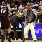 Natty threads: The Miami Heat superstar modeled the latest in fashionable courtwear during a timeout in his NBA basketball game against the Atlanta Hawks on January 5.