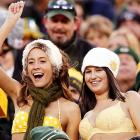 Unable to get to Kiev for their epiphany, these two lovely ladies made do at frosty Lambeau Field in Green Bay.