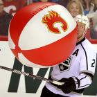 """""""You couldn't stop a beach ball!"""" is a common catcall directed at goalies in NHL arenas, and the L.A. Kings defenseman decided to see if it was true of Miikka Kiprusoff (not pictured), who was minding the net for the Calgary Flames during their hockey game on January 14. Turns out it was. The Kings won, 4-1."""