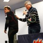 Skier Christian Ghedina of Italy (left) and FIS race director Guenther Hujara (right) presented an air bag for ski racers at a news conference at the men's Alpine Skiing World Cup in Kitzbuehel. The air bag made only a brief fashion statement and refused to answer any questions from the media.