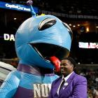 The New Orleans Hornets mascot got his licks in at New Orleans Arena, much to the amusement of this security guard, who our spies say had the cheeky devil wrestled to the ground, pepper-sprayed, tasered, hog-tied and dragged out the backdoor. So let that be a lesson to ya.
