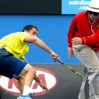 Nicolas Almagro of Spain had to ward off a line umpire who was skulking about the court during his third-round match against Stanislas Wawrinka of Switzerland.