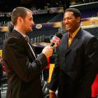 Love interviewed NBA legend Robert Horry before Game 1 of the 2009 Finals between the Magic and Lakers at Staples Center in L.A.