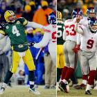 What a way to go out: Playing in a minus-24 degree wind chill, Green Bay quarterback Brett Favre's last pass as a Packer was an interception on the second play of overtime. The pick set up Giants kicker Lawrence Tynes -- who had missed two fourth quarter kicks, including a 36-yarder as time expired -- for his game-winning 47-yarder that made it 23-20.