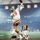 Fullback Earl Cooper spikes the ball after scoring a touchdown in the second quarter of Super Bowl XVI. The 49ers beat the Bengals 26-21 to win their first championship.