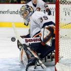 DiPietro begins delivering on his potential by getting into the Isles' season opener vs. Washington in relief of Garth Snow and holding the Capitals scoreless for 33 minutes. He posts his first NHL shutout, 6-0 over Buffalo, on Oct. 12, but struggles in December and asks to be sent to the AHL. After a brief stay, he returns and wins the starting job from Snow in March. The Isles make the playoffs as the eighth seed in the East, DiPietro finishing 23-18-5 with a 2.36 GAA and five shutouts. He plays well against Tampa Bay in the first round, but after the Isles fall in five games, they announce that DiPietro will need arthroscopic surgery on his left knee.