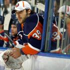"""After having his now customary offseason knee surgery, DiPietro misses the first 27 games of the season but uses the time off to lose some weight and adopt a new standup style, the better to preserve his legs. Back between the pipes against Dallas on Jan. 9, the starcrossed netminder absorbs a 4-3 loss but holds up until March 6 when swelling in his right knee shelves him for the final 12 games of the season. He finishes the campaign with a 2-5-0 record in eight appearances.    CLICK HERE   to read Sarah Kwak's """"Net Worker"""" (SI 01.25.10)"""