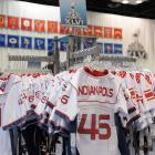 Jerseys for sale at the Indiana Convention Center.
