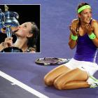"""No. 3 Azarenka was dominant in her win over Maria Sharapova. So much so that just after winning, she dropped to her knees, looked up to her box and mouthed """"What just happened?"""" What happened? You won your first Grand Slam title over one of the WTA's fiercest competitors and took over the No. 1 ranking from Caroline Wozniacki in the process."""