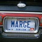 Former Cincinnati Reds owner Marge Schott's lets everyone know who her car belongs to.