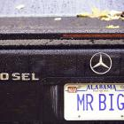 "Former Bengals defensive end John Copeland shows off his ""MR. BIG"" plates."