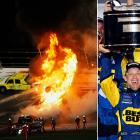 In a race that will be remembered for the jet fuel fire that caused a two-hour delay, the 2012 Daytona 500 was won by Matt Kenseth in a green-white-checkered finish.  NASCAR's Super Bowl was scheduled to start on Sunday, but was pushed back to Monday night because of rain. Things didn't go very smoothly in prime time, with numerous cautions and a bizarre track fire caused by Juan Pablo Montoya's crash into a service truck loaded with jet fuel.