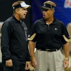 "The NFL released a report on March 2 that announced that former Saints defensive coordinator Gregg Williams (right) -- now with the Rams -- ran an illegal ""bounty"" pool over the last three seasons in New Orleans. Williams admitted to and apologized for running the pools, which rewarded players with cash payments for knocking targeted opposing players out of games and got up to $50,000.  On March 21, the NFL suspended Saints head coach Sean Payton (left) for the 2012 season and banned Williams from the league indefinitely.  Also, Goodell suspended Saints general manager Mickey Loomis for the first eight regular-season games of 2012, and assistant coach Joe Vitt has to sit out the first six games.  In addition, the Saints are being fined $500,000 and forfeit second-round draft picks this year and in 2013."