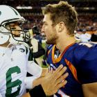 Denver started shopping Tebow after signing Peyton Manning, and two days later it traded the lefty-quarterback to the Jets.  The Broncos received fourth- and sixth-round draft picks, while New York got a seventh-rounder -- all in 2012.  Eight hours after initially agreeing to a trade, the teams completed it after it was hung up when the Jets balked at repaying Denver more than $5 million for a salary advance due Tebow. The two sides agreed to split that cost. Tebow is expected to complement starter Mark Sanchez, who received a $40.5 million contract extension, with $20.5 million guaranteed, earlier in the month.  Tebow's base salaries for the next few seasons are very cap friendly: $1.942 million in 2012, $2.266 million in 2013 and $2.590 million in 2014.