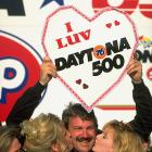 Dale Jarrett shows his appreciation for Daytona International Speedway by holding up a heart-shaped sign after winning the 1993 race.