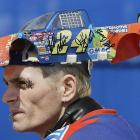 A Jeff Gordon fan watches the 2004 Daytona 500. Unfortunately for the fan, Dale Earnhardt Jr., not Gordon, claimed Victory Lane that year.