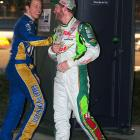 Keselowski and Dale Earnhardt Jr. share a laugh during the delay next to a portable toilet.