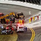 The track was damaged severely. Drivers exited their cars, and Brad Keselowski even   started tweeting.