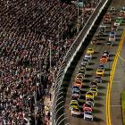 A large crowd turned out, despite the delays, for the first night start of the Daytona 500.