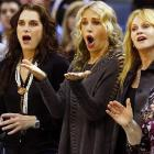 Judging by the look on these ladies' faces, the San Antonio Spurs vs. Hornets game in New Orleans was a shocking upset.