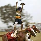 A Sikh warrior in Kila Raipur, India, demonstrates one way to inject some excitement into American thoroughbred racing.
