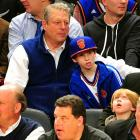 The former U.S. veep and his guest steeped in the excitement at New York's Madison Square Garden, where a young basketball player was causing a stir while his New York Knickerbockers tried to score more points than the Sacramento Kings.