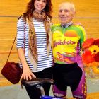 The actress and her uncle in Aigle, Switzerland after the Le Grand Geezer set a new cycling record by pedaling his derriere 15.1 miles in one hour at the ripe old age of 100.