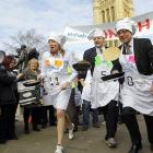 Members of Parliament Tracey Crouch (left) and Lord Redesdale (center), and political correspondent Nick Robinson start their skillets at Victoria Tower Gardens in London. Racing fans will be fascinated to know that this year's event featured restrictor plates and forks in the road.