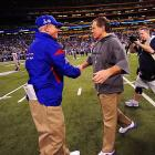 Tom Coughlin and Bill Belichick exchanged pleasantries before kickoff.
