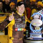 Able to surpass Tony Stewart off the final pit stop with 13 laps remaining, Kyle Busch held on the rest of the way to take the checkered flag at Richmond International Raceway. The victory was Busch's fourth consecutive win at Richmond's spring race and his first victory in 22 races.