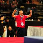 After Leyva took the all-around title, his coach, Yin Alvarez, played the role of energetic cheerleader.