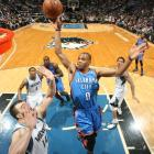 In a showing that was almost as good as their 85-point total in an overtime win against the Timberwolves on March 23, Kevin Durant (43 points) and Russell Westbrook (35) again topped Minnesota (who was without Kevin Love this time), 115-110, by combining for nearly 70 percent of the Thunder's points.