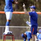 Pants on the Ground (almost): New York Mets strength coordinator Brad Andress (right) belts out the popular song while pitcher Jeurys Familia does an interpretive dance on a stool in sunny Port St. Lucie.