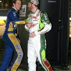 The two stock car jockeys enjoyed a convivial pit stop during the Daytona 500.