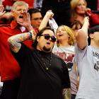 """The """"Pawn Star"""" jeered on the Wyoming Cowboys with other UNLV Rebels fans as their team rolled to a Western Conference quarterfinal win in Las Vegas."""
