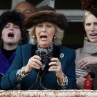 Britain's Camilla (center), aka the Duchess of Cornwall, and Zara Phillips (right) react to losing their rent money by betting on the bob-tailed nag in The Queen Mother Champion Chase at the Cheltenham Festival in Gloucestershire.