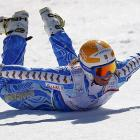 """Clad in more traditional ski garb, Anja Paerson of Sweden performed her """"traditional penguin"""" (named for the famous flightless fowl) in Schladming, Austria."""