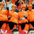Whatever these lads be drinking during the Netherlands' International Friendly vs. England, it sure wreaks havoc on a girlish figure.