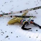 The men's World Cup ski jumping flying hill individual competition in Planica, Slovenia, can be a messy business for those who land incorrectly.