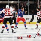 Recreating a scene from  Slap Shot  (  CLICK HERE  to watch ), Devil Cam Janssen exchanged fistic greetings with Brandon Prust of the Rangers while Stu Bickel (41) battled Ryan Carter three seconds into their March 19 bout at Madison Square Garden, the scene of so many classic boxing matches. A Mike Rupp-Eric Boulton Pier-Sixer also took place elsewhere on the ice.