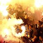 Partizan fans shared a warm moment during an obviously lit semifinal match against Red Star in Belgrade on March 21.