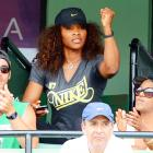 Showing some love for her sister Venus at the Sony Ericsson Tennis Open in Key Biscayne, Florida.