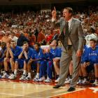 Coach Bill Self points while on the sidelines during a 2008 game at Texas. A five-time finalist for the Naismith Coach of the Year Award, Self has won at least a share of the Big XII regular season title in eight of his nine years in Lawrence.