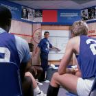 Legendary coach Larry Brown coaches during a 1984 team meeting. Brown coached at Kansas from 1983-1988, winning the 1988 title but leaving under a cloud because of recruiting violations uncovered by the NCAA.