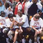 The Kansas team celebrates on the bench after winning the 1988 national champion
