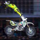 Spanish rider Edgar Torronteras performs a trick during the World Motorcylcing Championship in Mallorca, Spain.